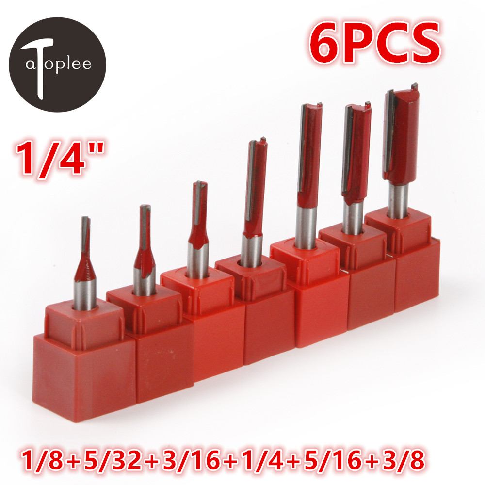 Hot 6PCS 1/4Shank 1/8-3/8 Single+Double Blade Woodworking Straight Router Bit Cutter Knife For Grooving Scraping Tool best price mgehr1212 2 slot cutter external grooving tool holder turning tool no insert hot sale brand new