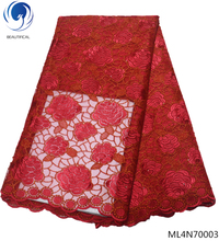 BEAUTIFICAL red french lace fabric 2019 high quality embroidered tulle fabrics net ML4N700