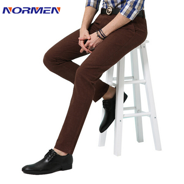 New brand mens Good Quality Cotton solid Business Casual pants Men's Autumn Easy Care Slim Trousers for Man Pantalones Hombre
