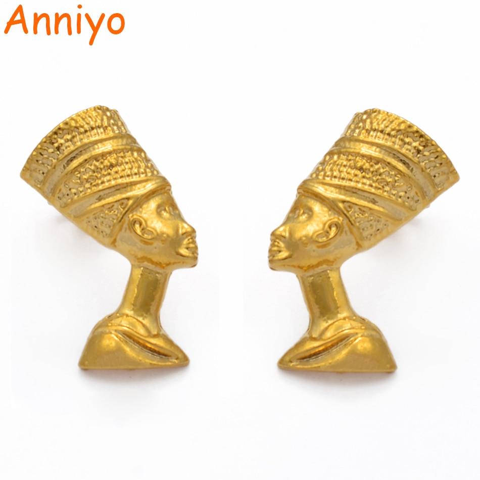 Серьги-пусеты Anniyo, серьги-пусеты для женщин и девочек золотого цвета, оптовая продажа, африканские украшения, подарки #204606