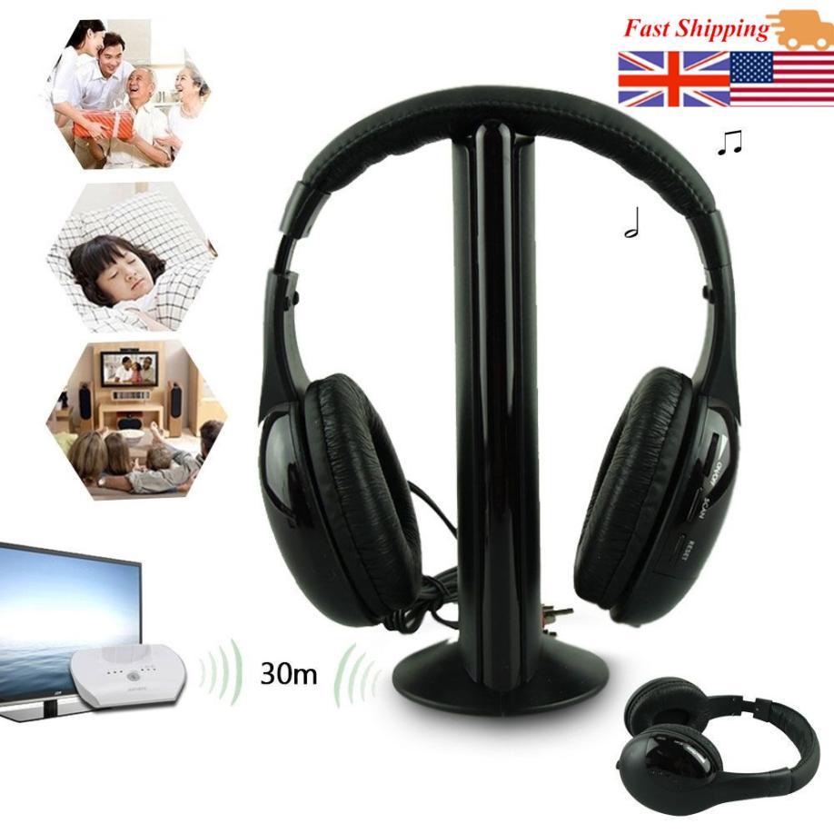 5IN1 Sans Fil Casque Casque Audio Sans Fil Ecouteur Salut-fi Radio FM TV MP3 MP4 plein Canal Net Chat jeu lecteur