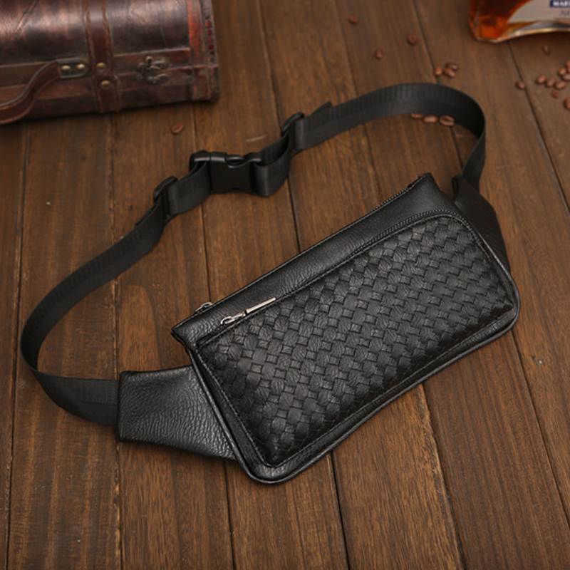 Fashion Weave Men's Waist Bags PU Waterpoor Waist Pack Business Men Bag Casual Travel  Leather Shoulder Bag New Chest Bags Male