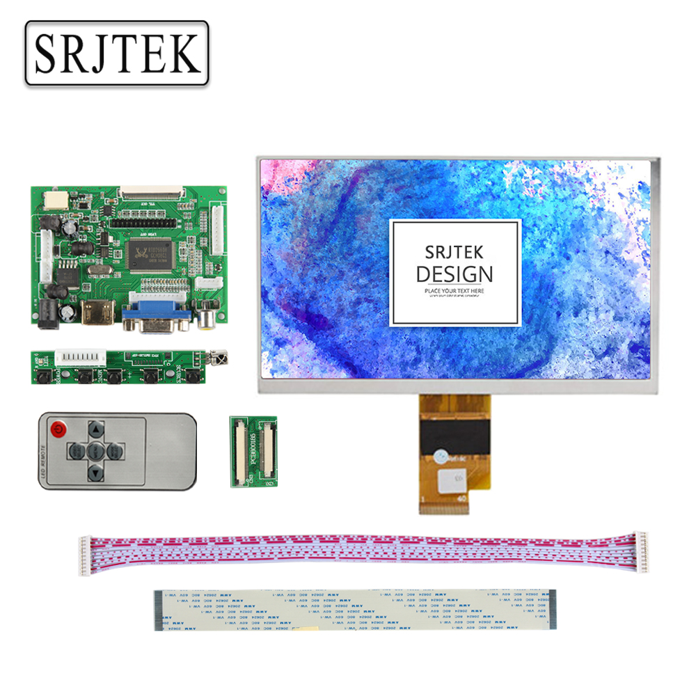 Srjtek 7 inch LCD Display Screen 1027*600 EJ070NA-01J Monitor Remote Driver Board 2AV HDMI VGA For Lattepanda Raspberry Pi 3 2 12 inch 12 1 inch vga connector monitor 800 600 song machine cash register square screen lcd industrial monitor display