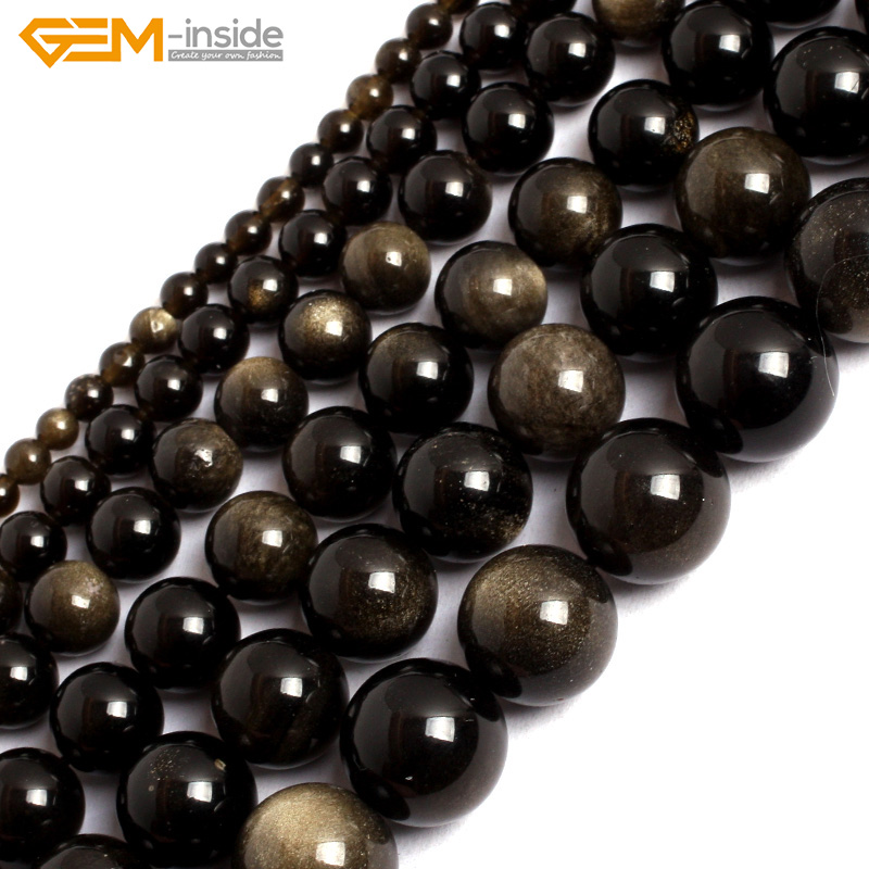 Gem-inside 4-14mm Natural Stone Beads Round Gold Obsidian Beads For Jewelry Making Beads 15'' DIY Beads Jewellery 8aaaaaaaa natural stone gold obsidian cat s eye round beads stretch bracelet jewelry with lucky evil brave troops for men women