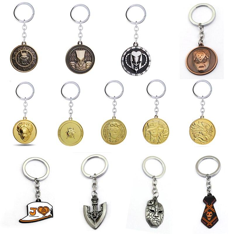 Game Jewelry Cartoon JOJOS BIZARRE ADVENTURE Keychain Shield Pendnats Round Keyring Chaveiro Accessory
