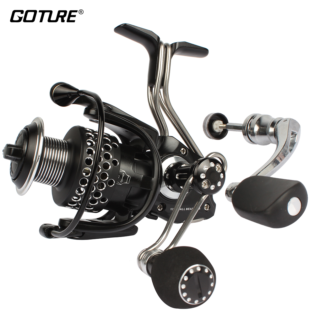 Goture Iron Man Spinning Angelrolle 13BB 5.1: 1 Metall Body Feeder Karpfen Angelrolle Doppelgriffe 1000-4000 Max Drag 6KG
