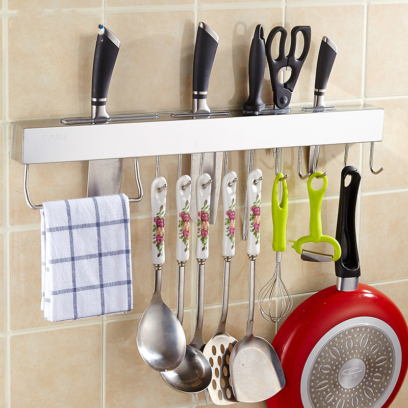 Punch-free installation of kitchen supplies knife rack rack hanging wall blade tool stick plate rack knife holder hook Lu 5033