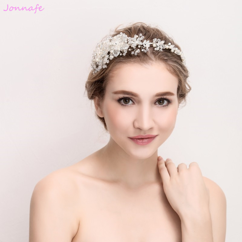 Jonnafe Fashion Silver Flower Hairband Wedding Tiara Pearls Hair Jewelry Bridal Crown Handmade Women Accessories Headwear women crystal baroque flower headband handmade floral crown hairband party wedding wreath bridal headdress hair accessories