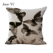 JaneYU 45*45cm Pillowcase Butterfly Print Floral Pink Pillow Cases Home Decorative Pillow Cases For Gift floral bird print decorative pillow case