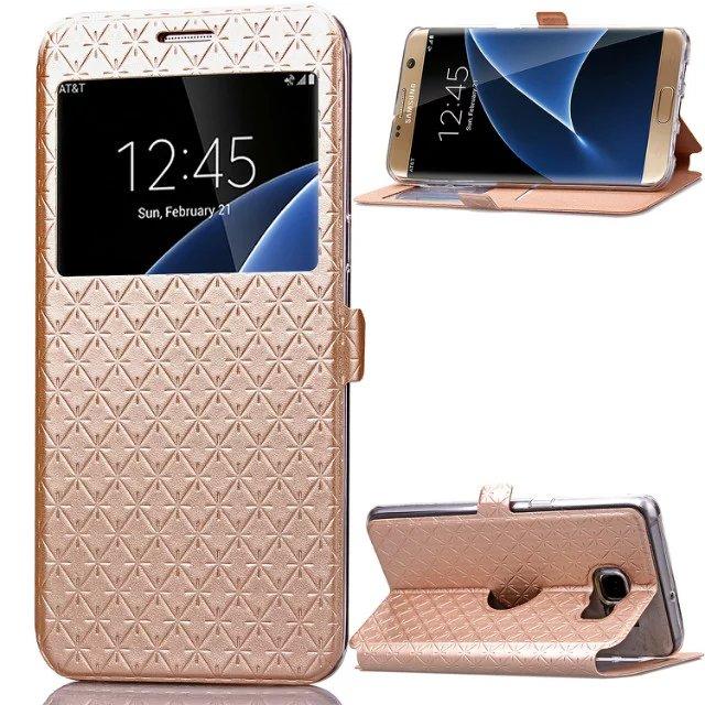 For Samsung Galaxy S7 <font><b>Edge</b></font> <font><b>Note</b></font> <font><b>7</b></font> G530 <font><b>Note</b></font> 5 Bling Glitter Window View Flip Wallet Card Case For Samsung S <font><b>7</b></font> <font><b>Edge</b></font> Stand Cover