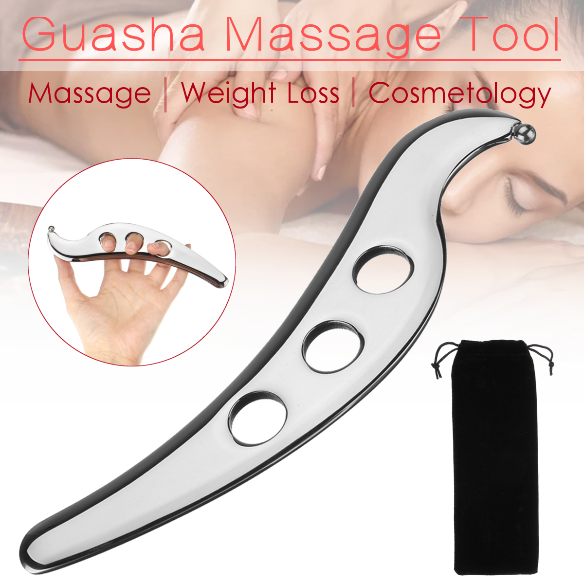 304 Stainless Steel Gua Sha Massager Tool Scraper Physical Therapy Loose Muscle Meridian Massage Machine SPA Board Body Health