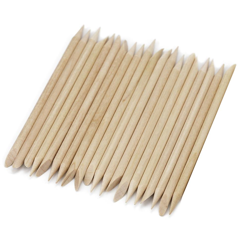 100/20 pcs Wooden Cuticle Pusher Nail Art Cuticle Remover Orange Wood Sticks For Cuticle Removal Manicure Nail Art Tools