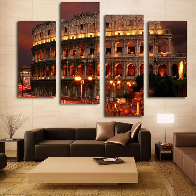 Ancient rome famous building oil painting wall art home decoration canvas paintings for living for Best paintings for living room