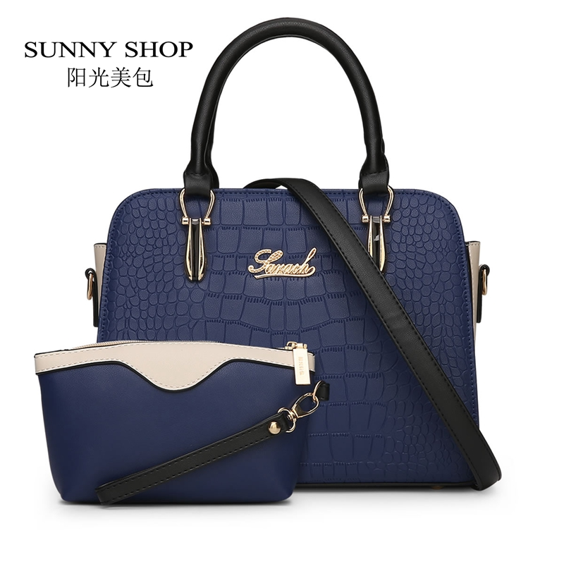 SUNNY SHOP 2 Bag/set  Fashion American Women Messenger Bags Alligator  women bag high quality purses and handbags dollar price