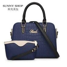 СОЛНЕЧНЫЙ МАГАЗИН 2 Bag/set Модные Американские Женщины Посланник Сумки Крокодил женщины сумку высокого качества кошельки и сумочки доллар цена