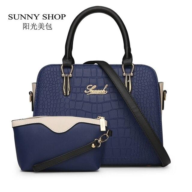 Sunny shop 2 bag/set americanas mensajero de las mujeres de moda bolsas de cocodrilo mujeres bolso carteras y bolsos de alta calidad precio del dólar