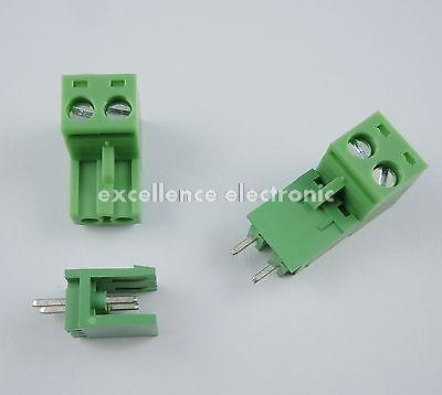 100 Pcs Green 5.08mm Pitch 2 pin 2 way Screw Terminal Block Plug Connector 2EDG