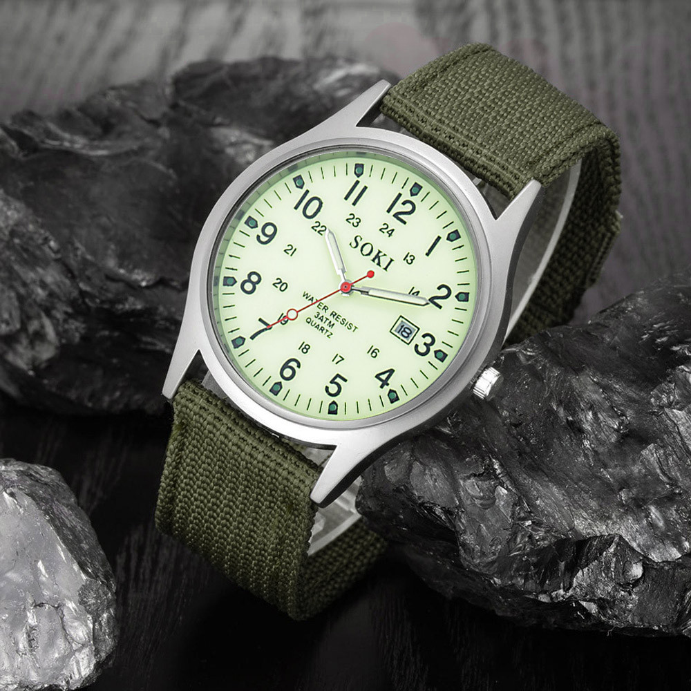 Military Army Men's Date Canvas Band Stainless Steel Sport Quartz Wrist Watch Men's watch Wrist Party decoration Business Watch