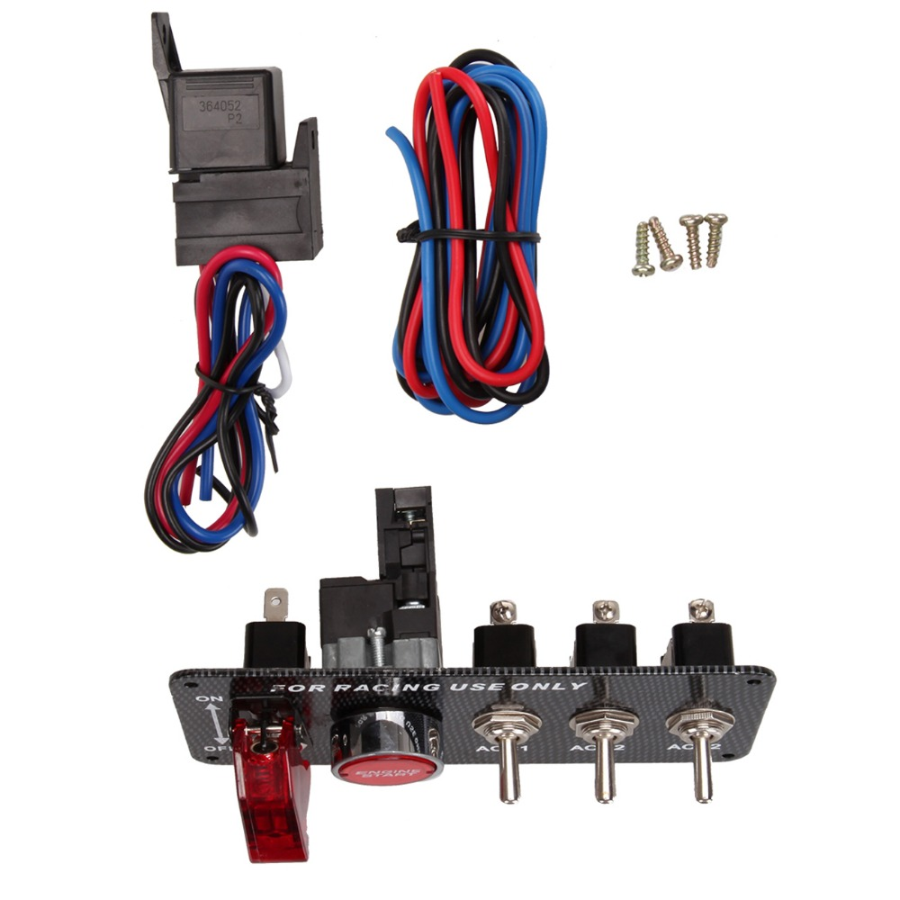 Shipping From Us Universal Racing Car Carbon Firbe 12v Led Ignition Race Switch Panel Wiring Engine Start Push Button Toggle In Switches Relays
