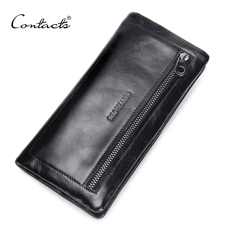 CONTACT'S Genuine Leather Vintage Style Men Wallets Fashion Brand Purse Card Holder Purses Man For Long Clutch Wallet long wallets for business men luxurious 100% cowhide genuine leather vintage fashion zipper men clutch purses 2017 new arrivals