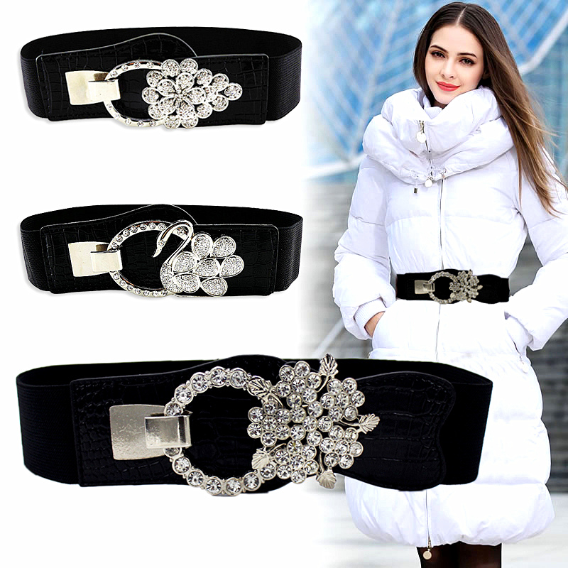 JXQBSYDK Corset   Belts   for Women Crystal Buckle Fashion Elastic   Belts   Slim Waist   Belts   Female cinturones para las mujeres