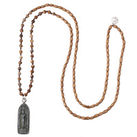 KELITCH Women Necklace Jewelry Wood Beads & Ntural Stone Handmade Strand Necklace Vintage Style Boddha Pendant Long Chain 2019