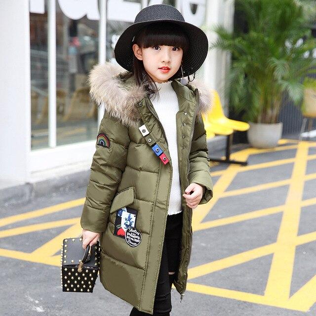 Olekid/2017 Детская куртка-пуховик для Обувь для девочек брендовые длинные подвижные меховой воротник Зимнее пальто для девочек От 5 до 14 лет для подростков верхняя одежда