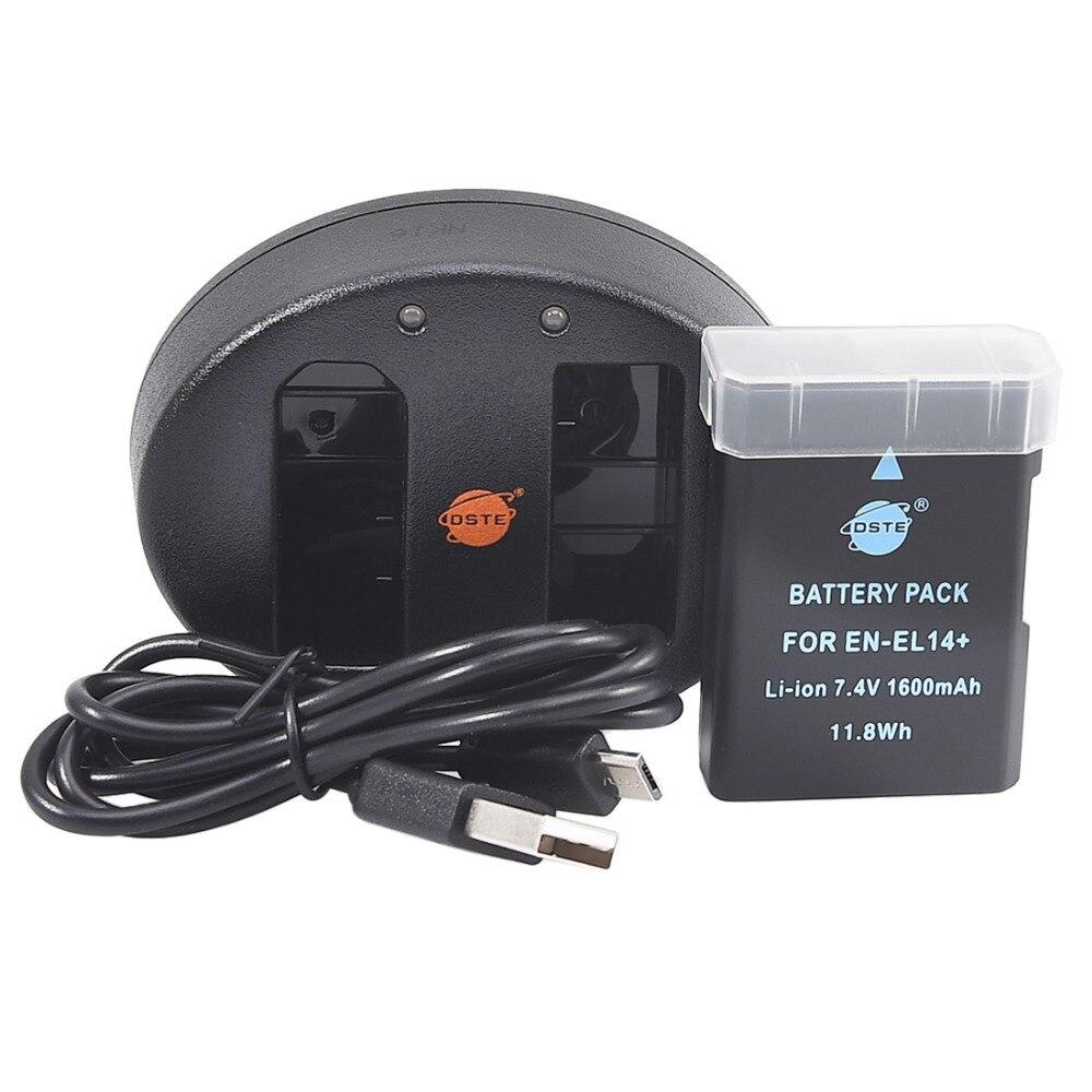 DSTE EN EL14 Battery UDC111A Dual USB Charger for Nikon D3100 D3200 D5100 D5200 D5300 DF