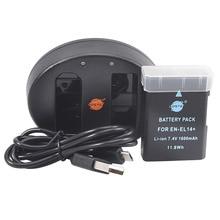DSTE EN-EL14 Батарея + UDC111A Dual USB Зарядное устройство для Nikon D3100 D3200 D5100 D5200 D5300 DF P7000 P7100 P7200 D3400 D5600 Камера