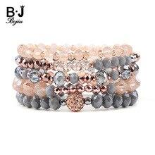 BOJIU 5 Pcs/Set Trendy Faceted Crystal Bracelets For Women Gold Rose Gray Bead Multilayer Femme Jewelry BCSET235