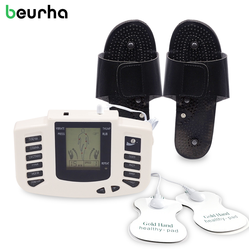 16 Electrode Pads Electrical Stimulator Full Body Massage Tens Acupuncture Pulse Pain Relax Russian Button Health Care Beurha beurha electrical muscle stimulator russian button therapy massager pulse tens acupuncture full body massage relax care 16 pads