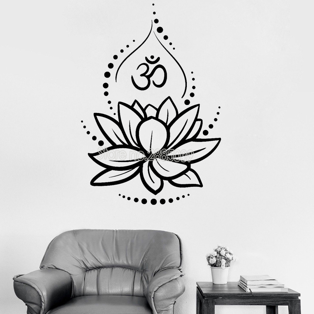 Creative Lotus Vinyl Wall Decals Om Sign Vinyl Wall Stickers Yoga Meditating Decal Murals Removable Art Room Decor Flower LC262