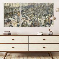 3 Panel World Famous Painting Reproduction on Canvas Wall Art Boulevard des Italiens Morning Sunlight by Camille Pissarro Modern