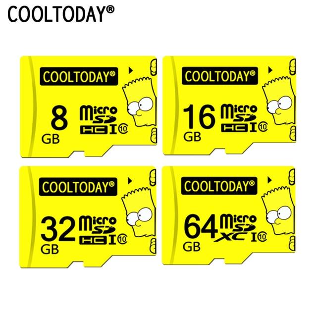 Cooltoday 8 Bart Simpson Top Qualidade Cartão Micro SD gb gb gb Classe 64 16 10 Memória À Prova D' Água Do Simpson cartão 32 gb Para O Telefone