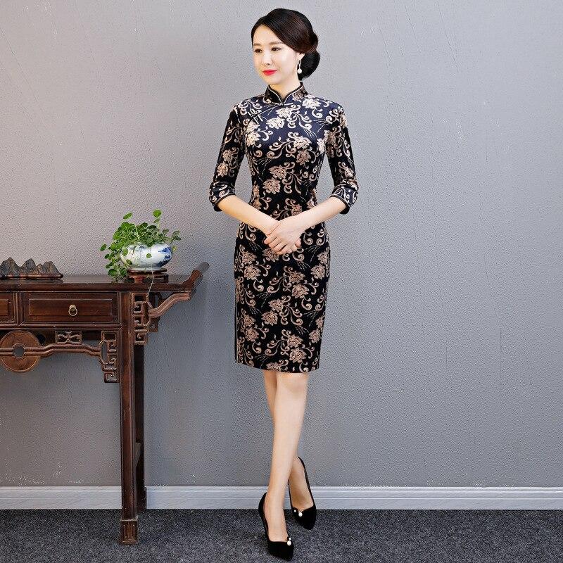 Oriental для женщин Винтаж Цветочный приталенный китайский женский халат традиционный бархат Cheongsam элегантные женские Вечеринка платье vestidos п...