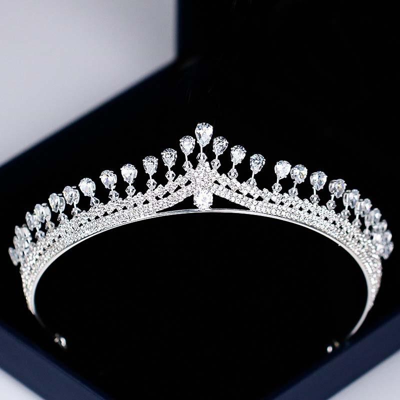 Women Fashion Rhinestone Zircon Queen Crown Bridal Tiaras Noiva Coronal Headpiece Hair Jewelry Ornaments for Wedding Party SL