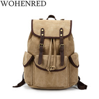 Canvas Vintage Backpack Leather Casual Bookbag Men Rucksack School Laptop Backpack Large Male Military Travel Bags