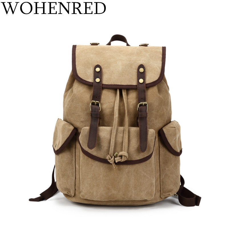 Canvas Vintage Backpack Leather Casual Bookbag Men Rucksack School Laptop backpack Large Male Military Travel Bags Bagpack