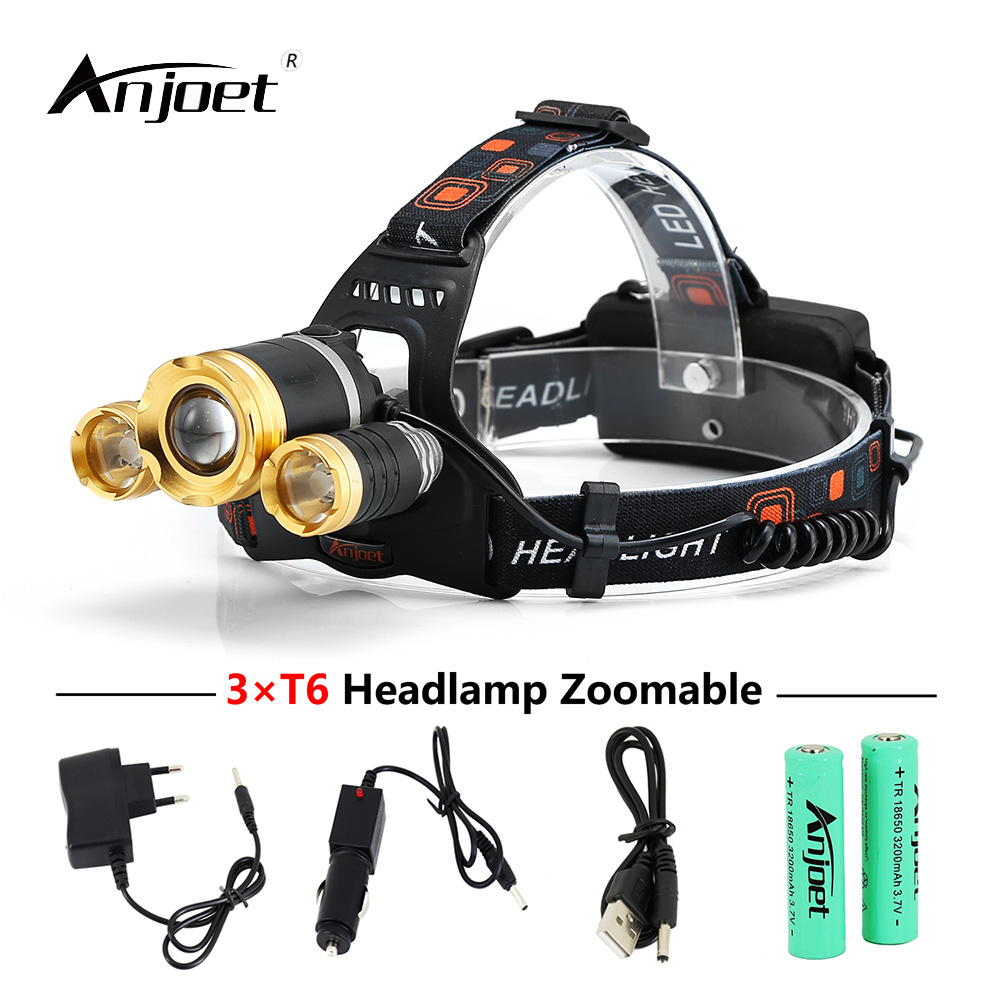 ANJOET rechargeable led headlamp 3T6 head flashlight torch xml t6 <font><b>10000</b></font> lumens headlight waterproof <font><b>lights</b></font> + charger + battery