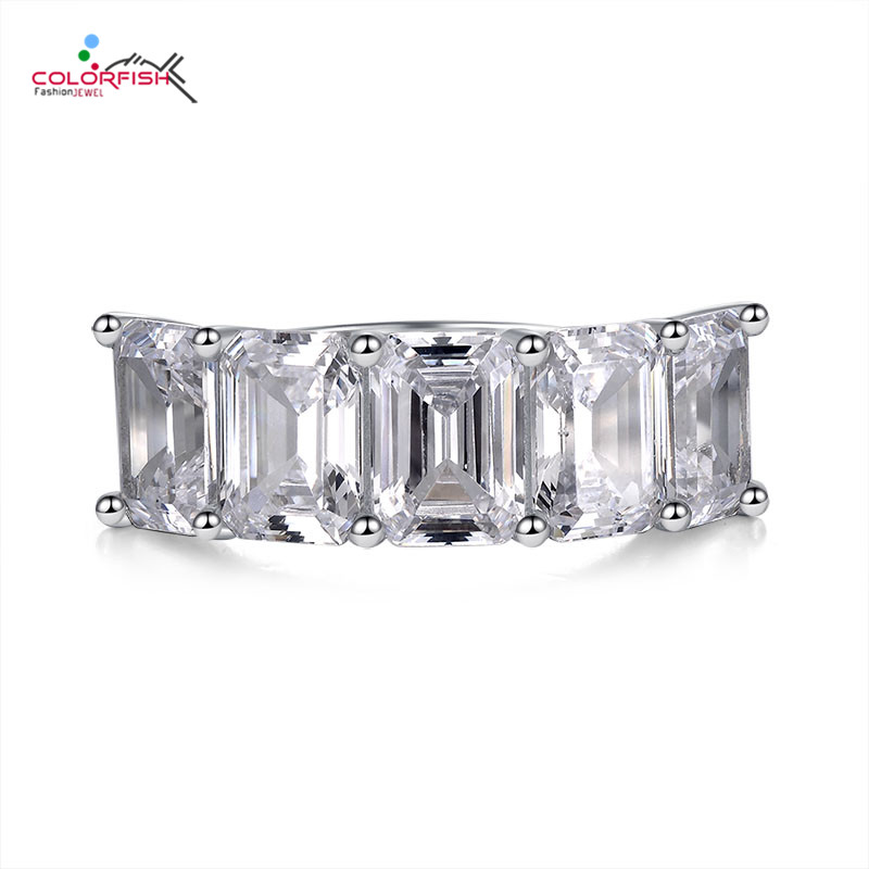 COLORFISH Luxury 5 carats 925 Sterling Silver 5 Stone Anniversary Band Bridal Rings For Women Square