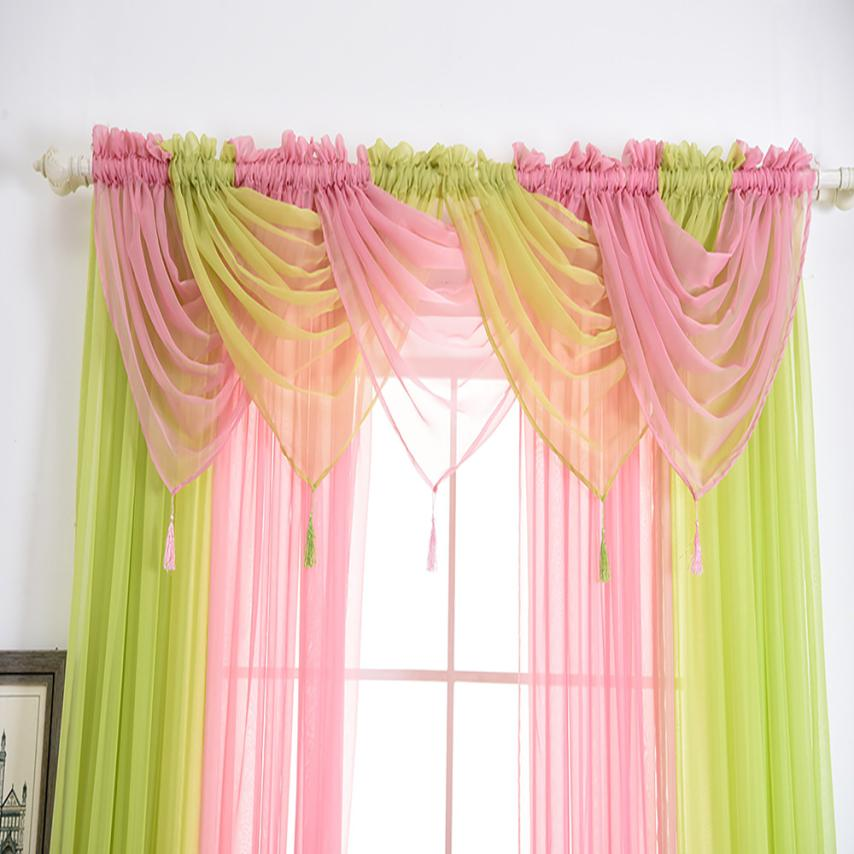 1 Pc Voile Curtain Swags Solid Colours Pelmet Valance Net Modern