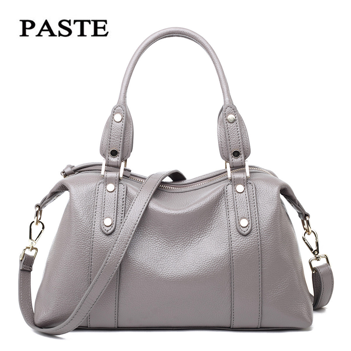 2017 Paste Brand Genuine Leather Bags for Women Handbag Rivets Designer Clutch Famous Brand Shoulder Bag Large Hobo Tote Bag