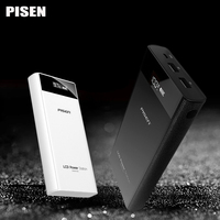 Pisen Power Bank 20000mAh External Battery Universal 18650 Battery Dual USB Portable Charger With LCD Screen