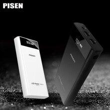 Pisen Power Bank 20000 мАч внешний Батарея Универсальный 18650 Dual USB Портативный Зарядное устройство с ЖК-дисплей Экран для iPhone 6 Xiaomi