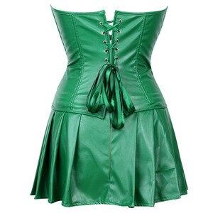 Image 3 - Sexy espartilho vestido feminino de couro falso overbust espartilho bustier com mini saia veneno ivy traje verde plus size S 6XL