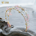 Luxurious gold plated hairband crystal crown shell girl hairwear rhinestone flower headpiece bride wedding accessories Gifts YR0