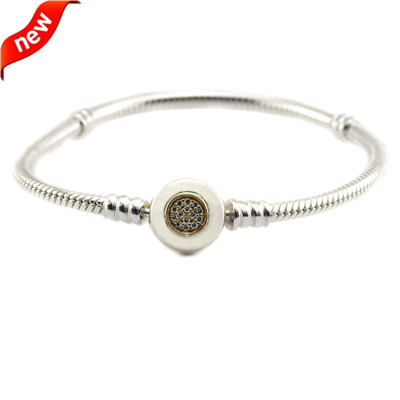 Authentique 100% 925 Sterling Argent Moments Deux-Tone Bracelet Signature avec 14 K Réel Or DIY Convient Charme Européen perles FLB028K
