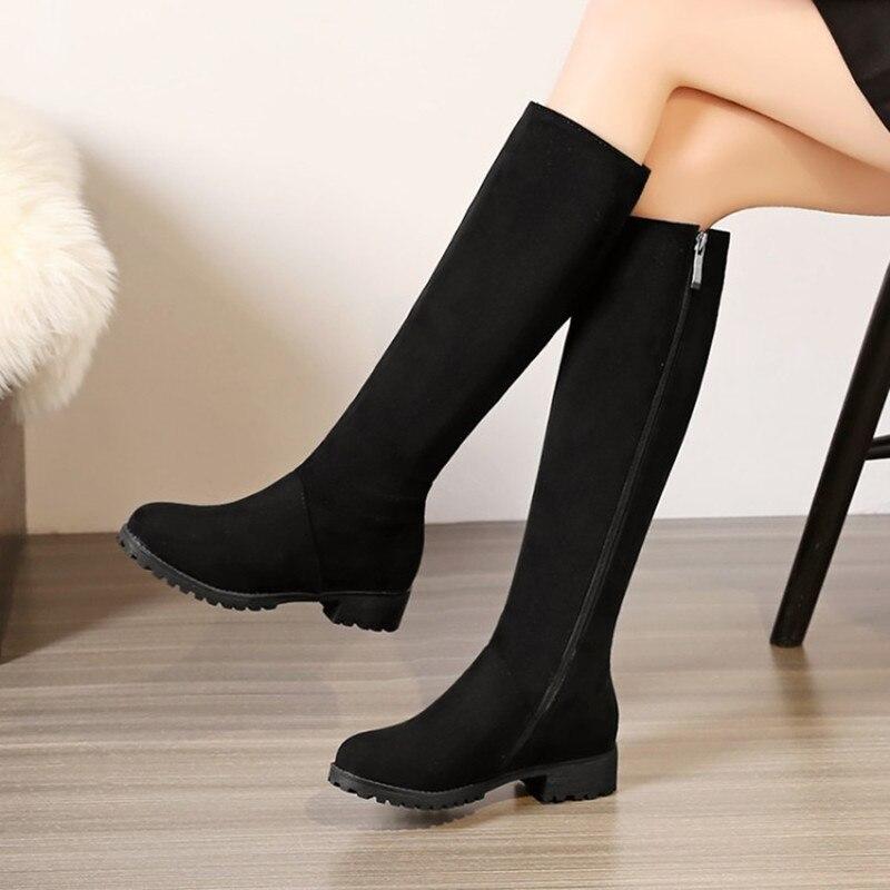 Plus Size 34 48 fashion women round toe zipper boots low heel simple knee high boots Zipper Warm Winter Shoes Ladies Long Boots in Knee High Boots from Shoes