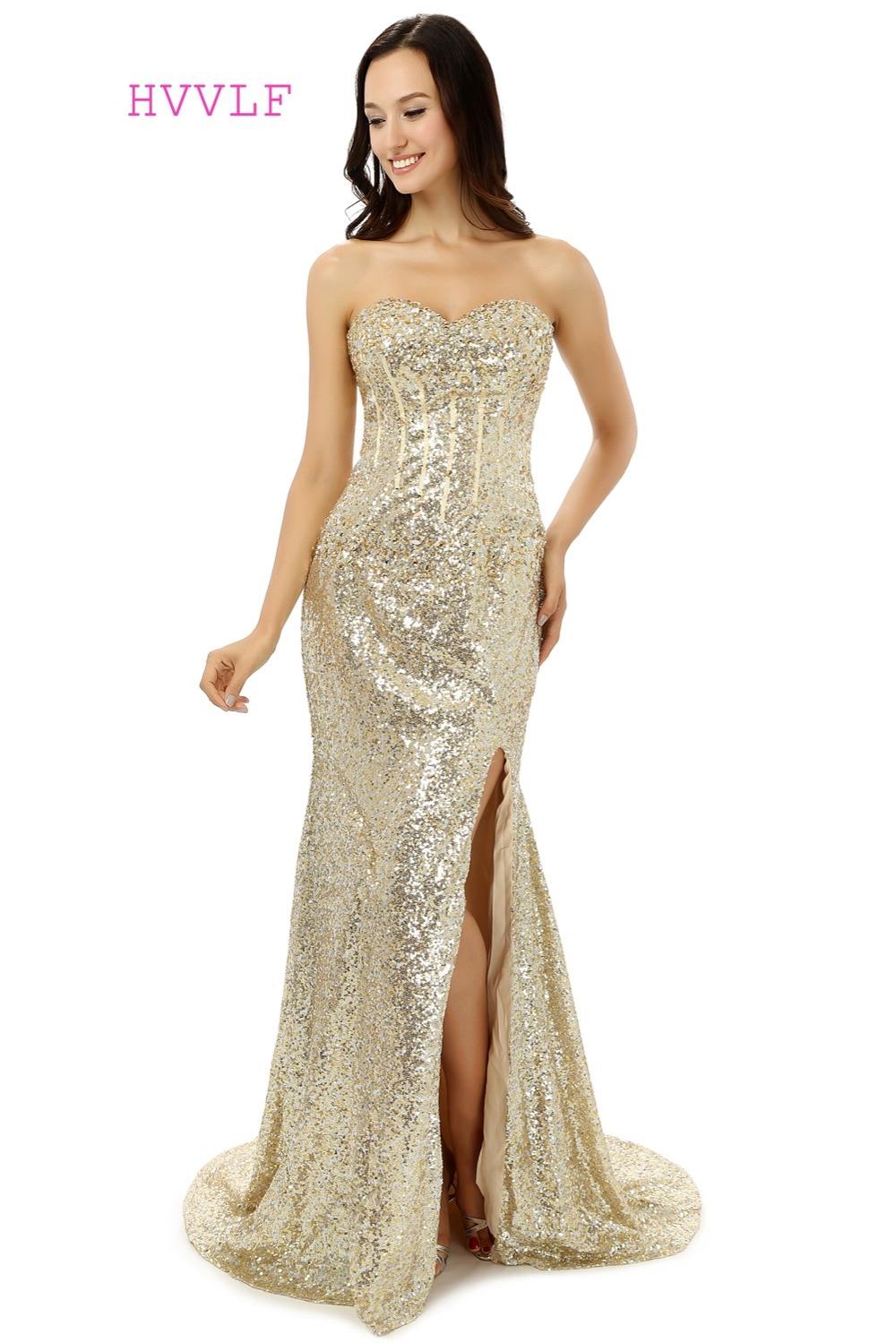 Robe De soirée Champagne 2019 sirène chérie paillettes cristaux scintillants fente Sexy longues robes De bal Robe De bal robes De soirée
