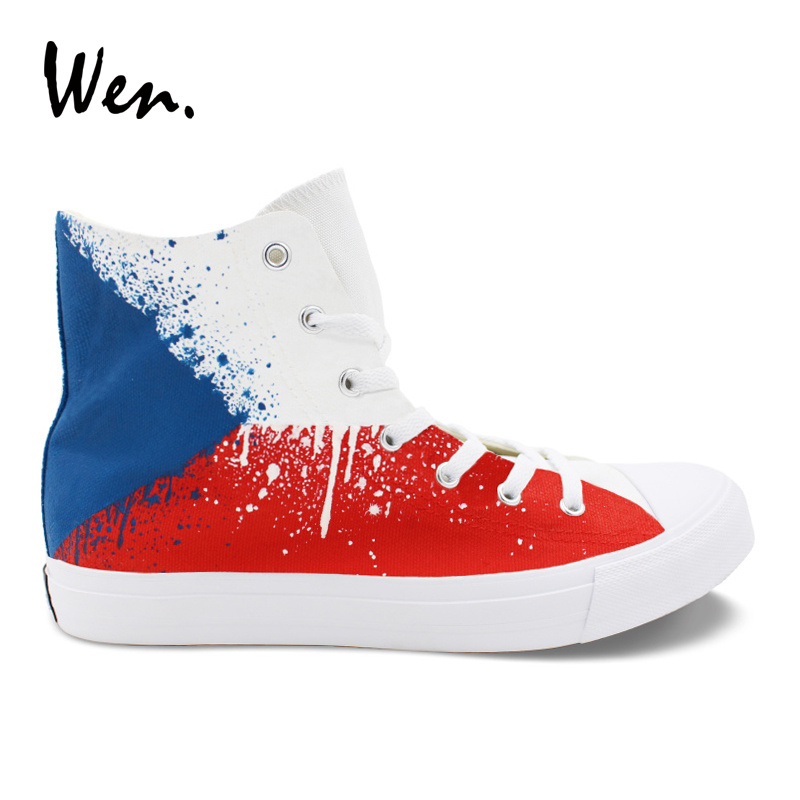Wen Unisex Sneakers Design Hand Painted Canvas Shoes Czech Flag High Top Lace Up Athletic Skateboarding Shoes for Boy Girl boys girls converse all star hand painted shoes women men shoes pokemon go charizard design high top canvas sneakers